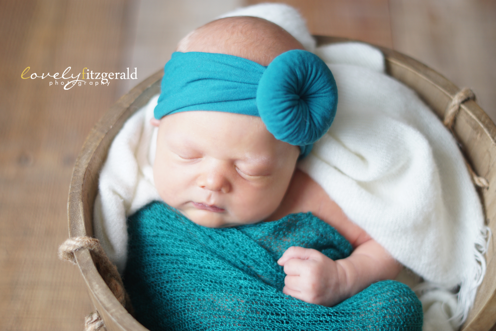 Lewisville Newborn Photographer, teal baby headband